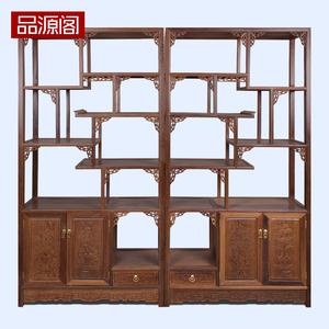 1红木家具鸡翅木实木博古架 中式仿古多宝阁 古董架茶叶陈列架