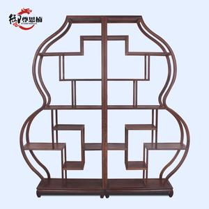 1红木家具鸡翅木葫芦博古架中式实木多宝阁仿古工艺摆件架茶叶架