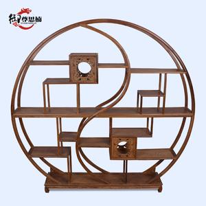 1红木家具实木鸡翅木太极博古架中式仿古圆形多宝阁茶叶展示架